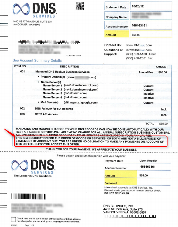 DNS Services scam example bill