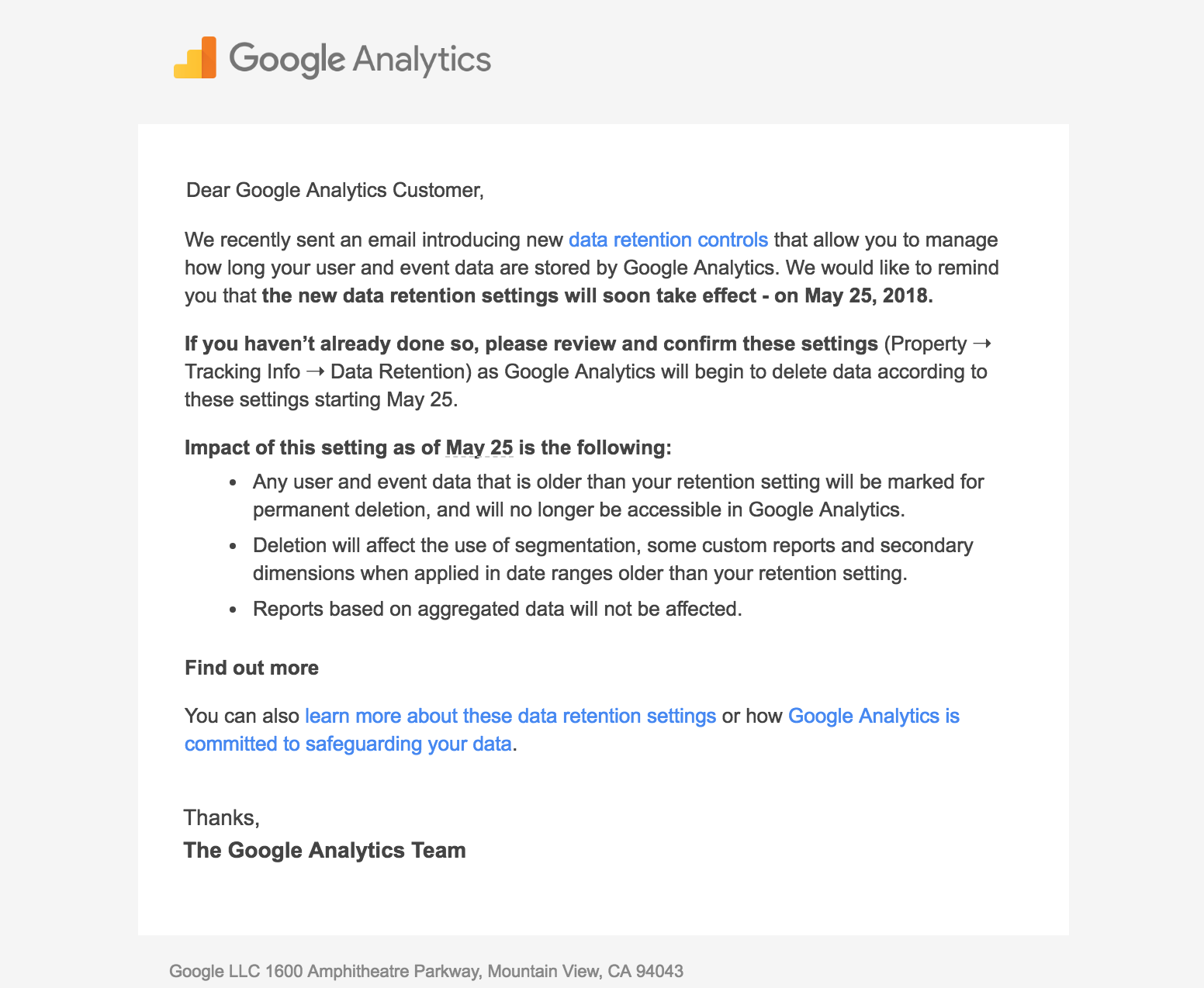 Email regarding Google Analytics Data Retention settings